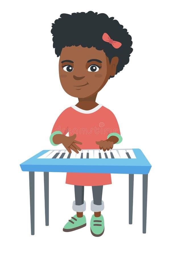 Piccola ragazza afroamericana che gioca il piano illustrazione di stock