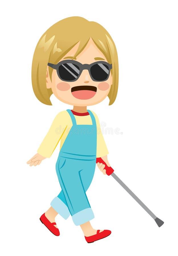 Piccola ragazza cieca bionda allegra illustrazione di stock