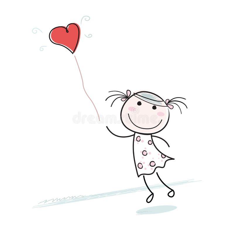 Piccola ragazza con l'aerostato a forma di del cuore illustrazione vettoriale