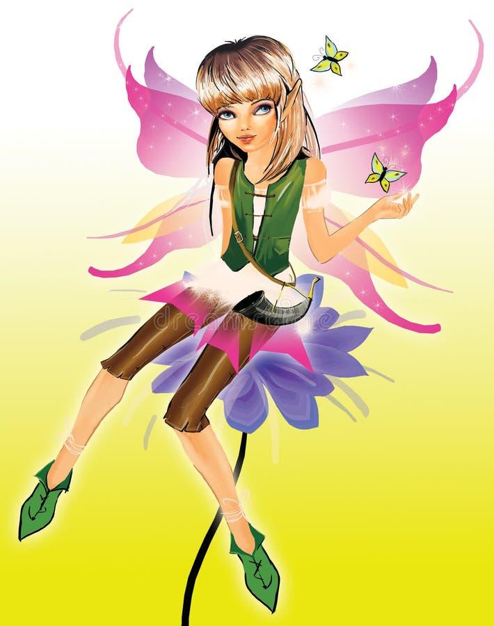 Piccola ragazza dell'elfo di bellezza royalty illustrazione gratis