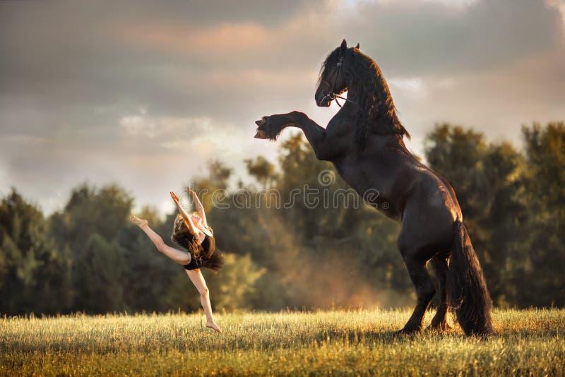 Piccola ragazza della ballerina con lo stallone frisone nero immagine stock libera da diritti