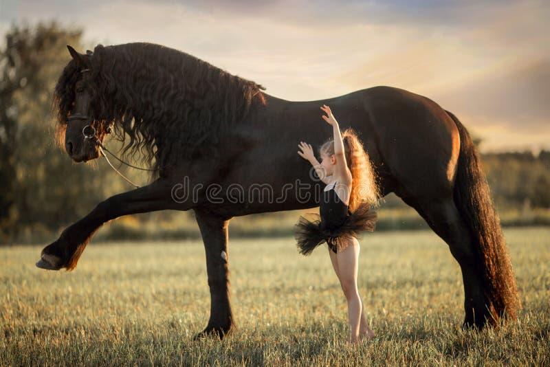 Piccola ragazza della ballerina con lo stallone frisone nero fotografia stock libera da diritti