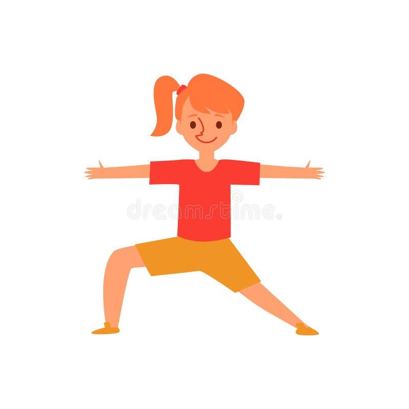 Piccola ragazza dello zenzero nella posa di yoga, bambino del fumetto nella posizione del guerriero che allunga armi e le gambe illustrazione vettoriale
