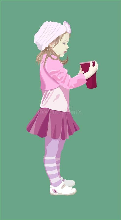 Piccola ragazza di tre anni nel rosa con succo illustrazione vettoriale
