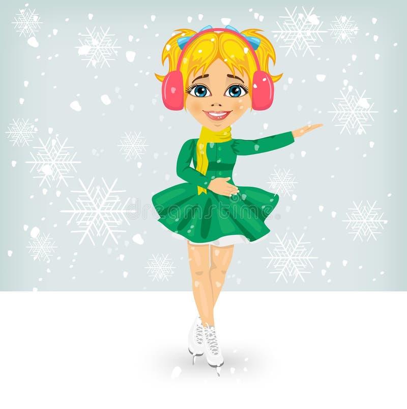 Piccola ragazza sveglia in cappotto di inverno che pattina all'aperto sulla pista di pattinaggio sul ghiaccio illustrazione vettoriale