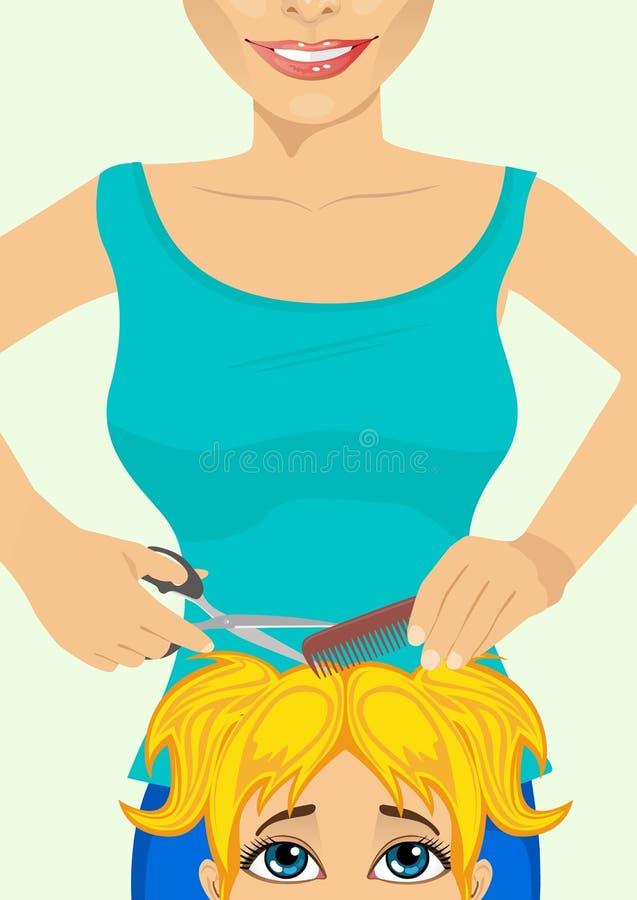 Piccola ragazza sveglia che ottiene un taglio di capelli al salone di lavoro di parrucchiere royalty illustrazione gratis