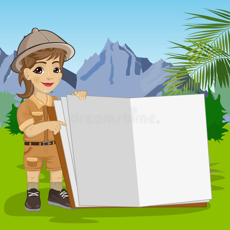 Piccola ragazza sveglia dell'esploratore in attrezzatura di safari che mostra libro gigante aperto nella giungla illustrazione di stock