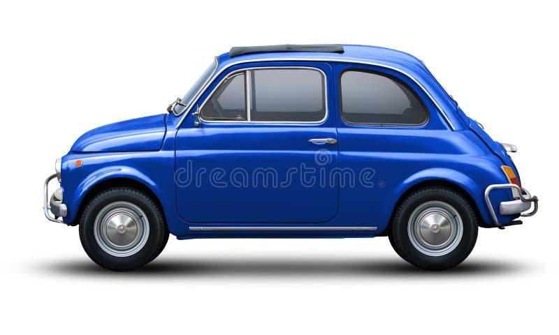 Piccola retro automobile in blu fotografia stock