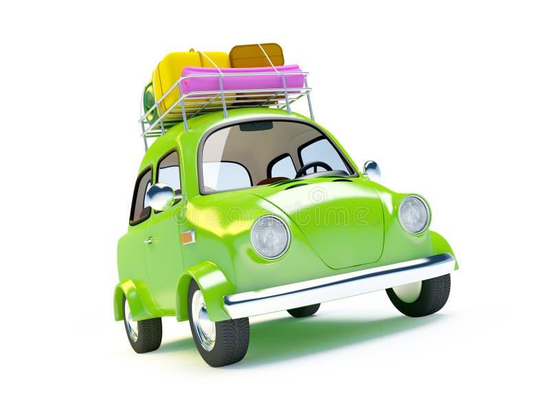 Piccola retro automobile di viaggio illustrazione vettoriale