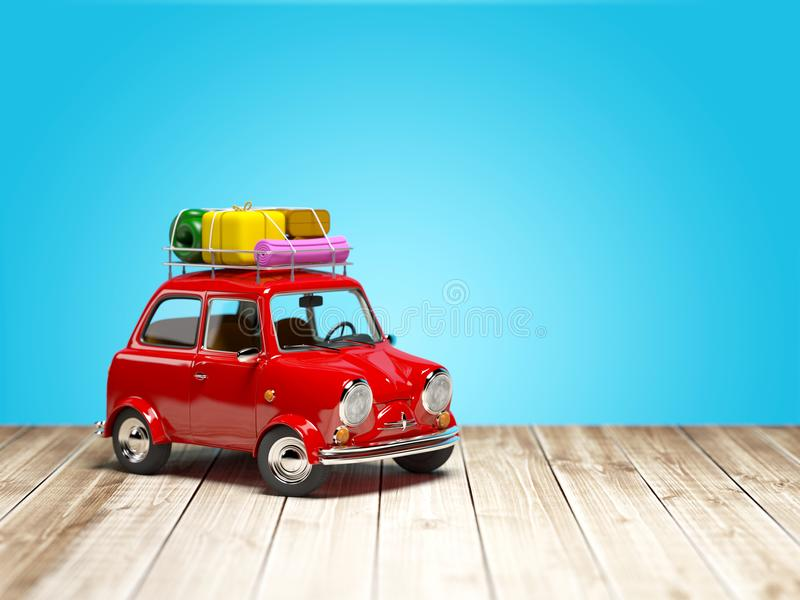 Piccola retro automobile di viaggio sul pavimento royalty illustrazione gratis
