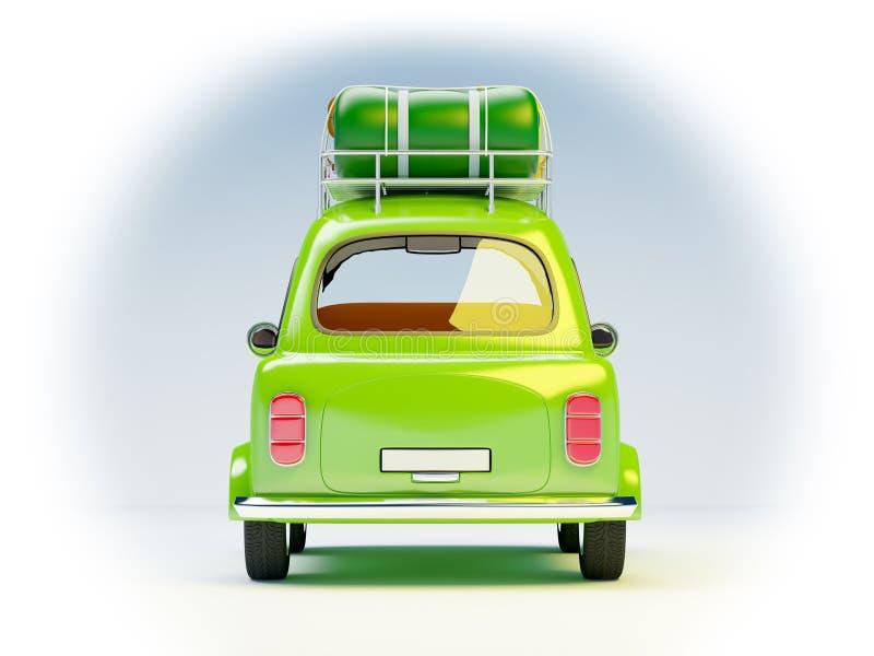 Piccola retro parte posteriore dell'automobile di viaggio illustrazione vettoriale