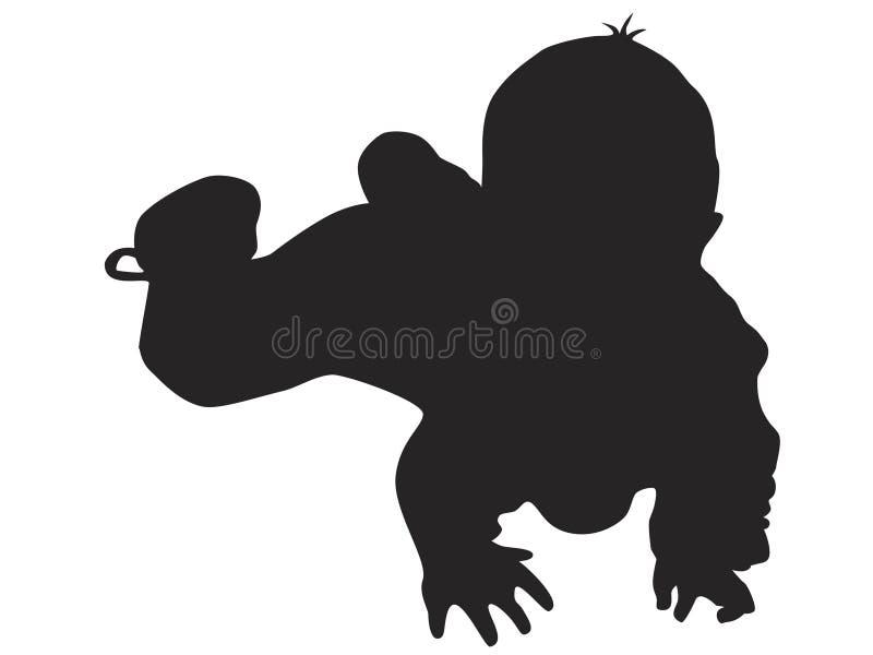 Piccola siluetta del bambino illustrazione di stock