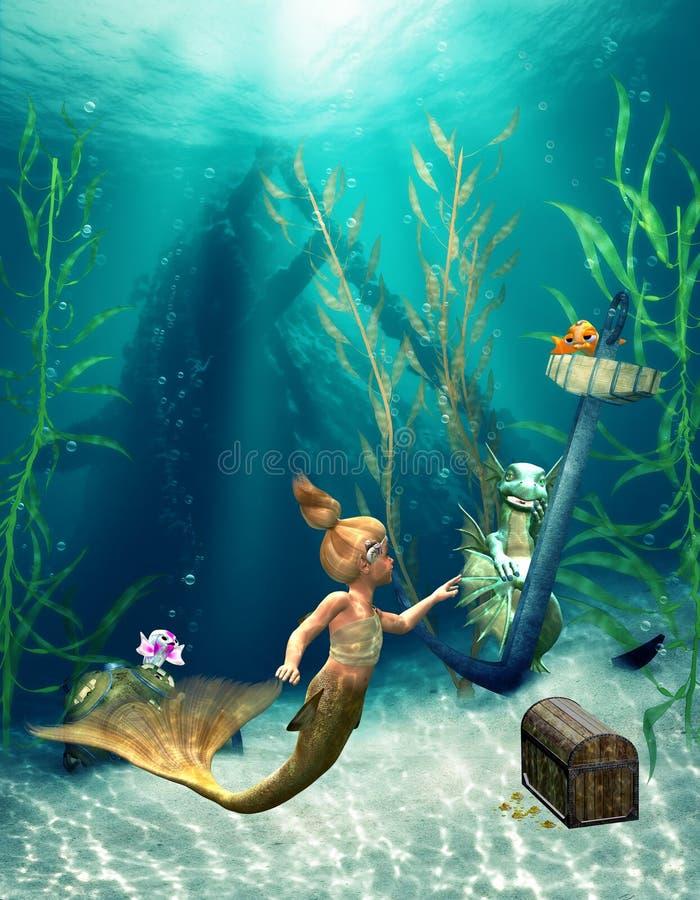 Piccola sirena 2 royalty illustrazione gratis