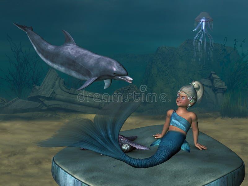 Piccola sirena 4 illustrazione di stock