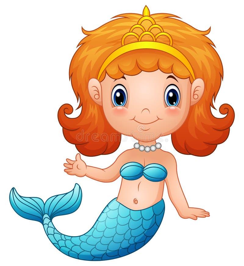 Piccola sirena sveglia royalty illustrazione gratis