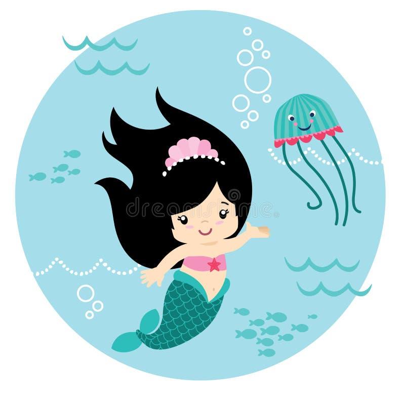 Piccola sirena sveglia dei capelli neri di stile di Kawaii subacquea con Jelly Fish Circle Design Isolated sull'illustrazione bia royalty illustrazione gratis