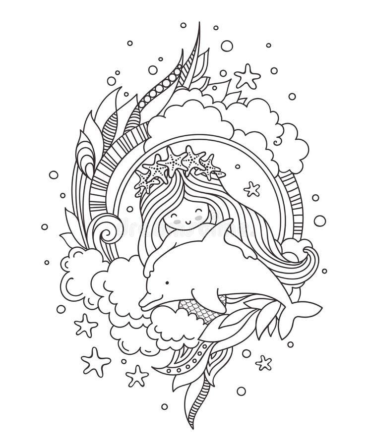 Piccola sirena in una corona delle stelle marine, con il delfino sveglio, circondato dalle nuvole, alga royalty illustrazione gratis