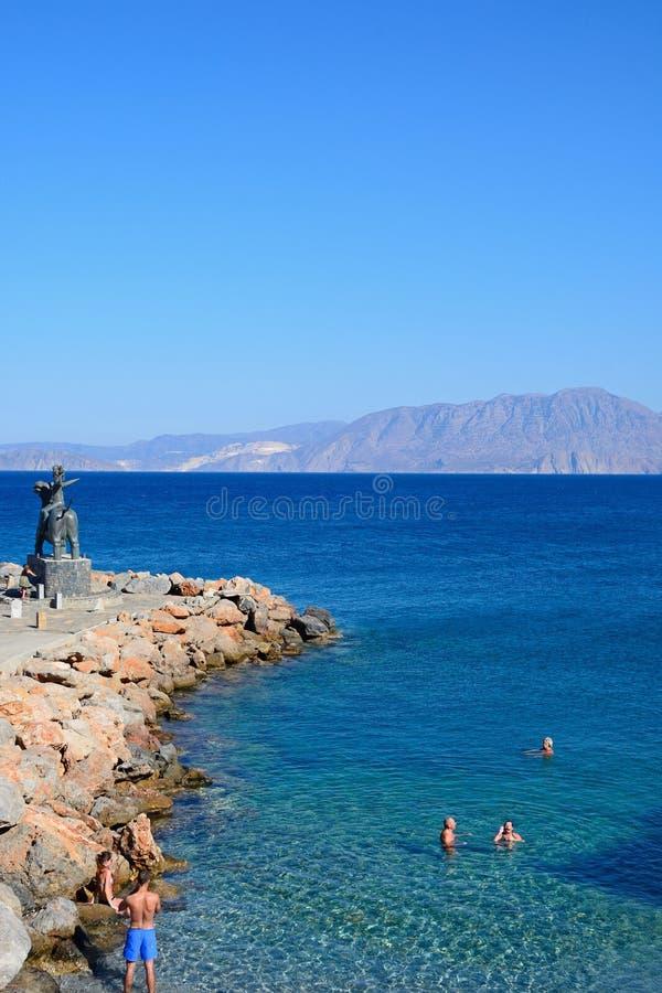 Piccola spiaggia, Agios Nikolaos fotografia stock
