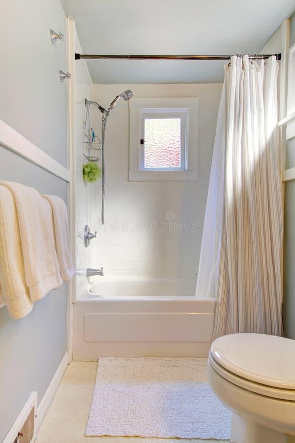 Piccola stanza da bagno blu con l'azzurro grigio-chiaro. fotografia stock