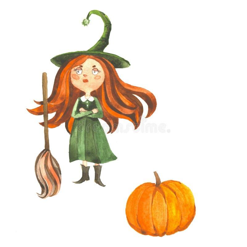Piccola strega Elemento per progettazione, le stampe e le cartoline d'auguri Serie di Halloween illustrazione di stock