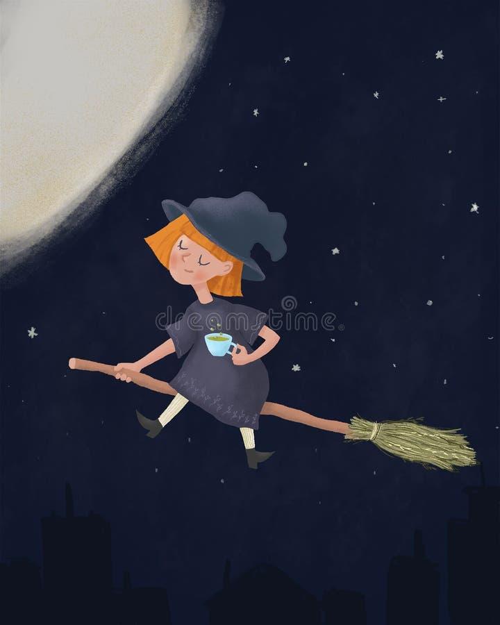 Piccola strega sonnolenta sveglia che si siede su una scopa e che tiene tazza di caffè Godere della volata nel cielo notturno pri illustrazione di stock