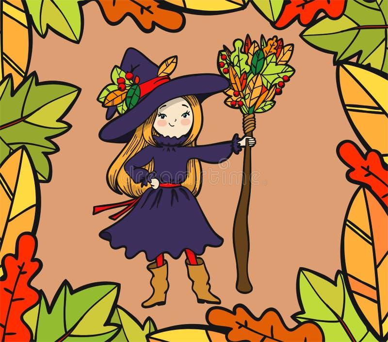 Piccola strega sveglia con una scopa royalty illustrazione gratis