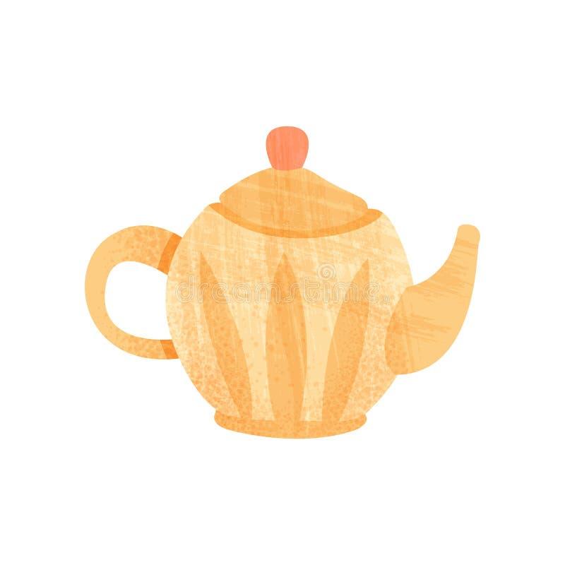 Piccola teiera arancio con la maniglia, il becco ed il coperchio Articolo da cucina ceramico Icona piana di vettore con struttura royalty illustrazione gratis