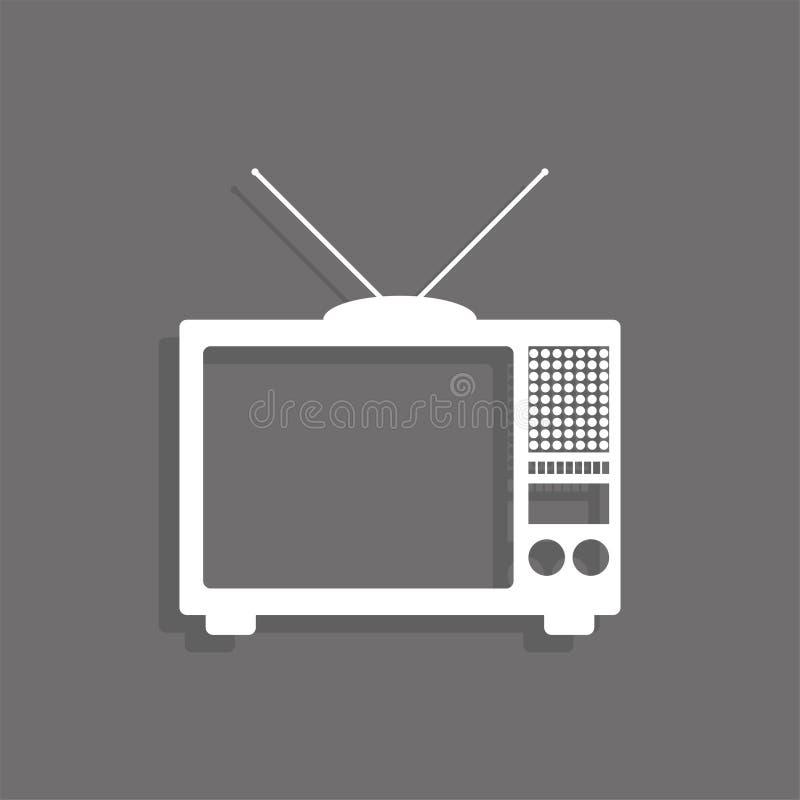 Piccola TV portatile Icona bianca di vettore su un fondo grigio con un'ombra fotografie stock libere da diritti