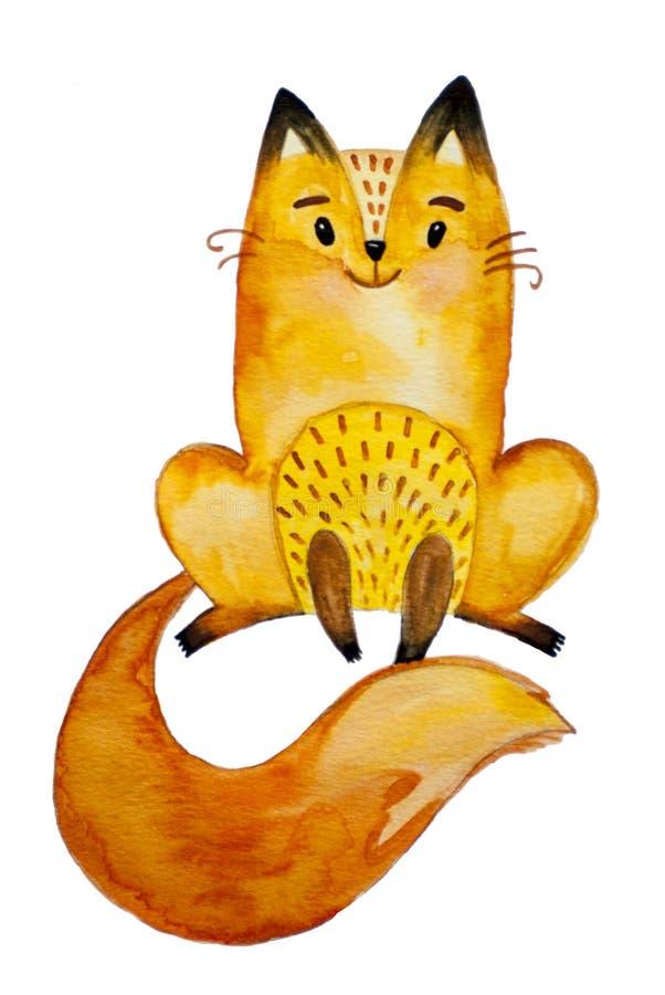 Piccola volpe arancio graziosa dell'acquerello illustrazione vettoriale