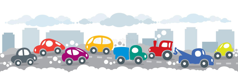 Piccole automobili divertenti sui precedenti urbani della strada di città illustrazione vettoriale