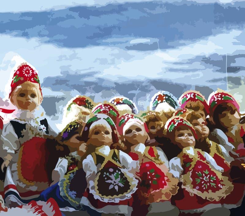 Piccole bambole ungheresi in costume tipico, disegno indicativo fotografie stock libere da diritti