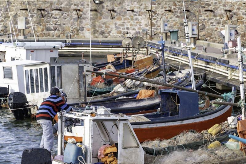 Piccole barche e barche a vela sulla costa di Piriapolis nell'Uruguay immagine stock libera da diritti