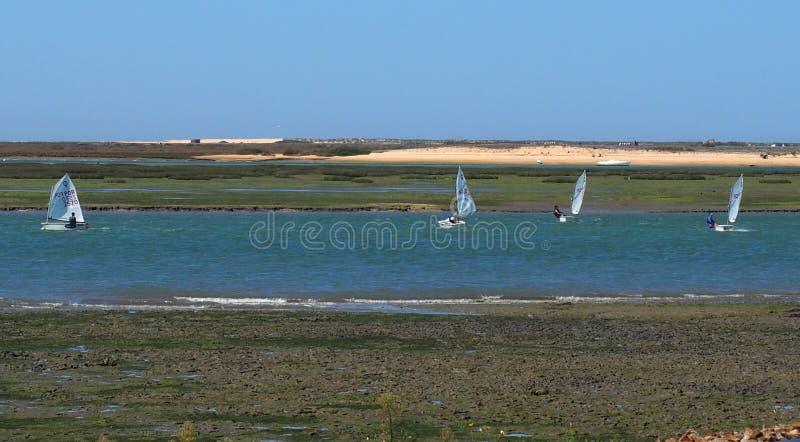 Piccole barche a vela vicino a Faro Portogallo immagini stock libere da diritti