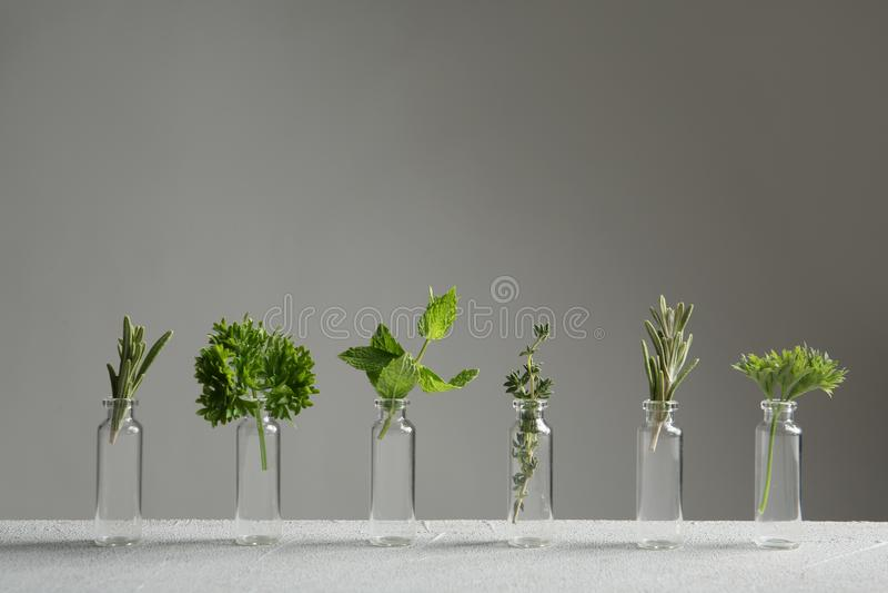 Piccole bottiglie con i rosmarini ed altre erbe immagini stock