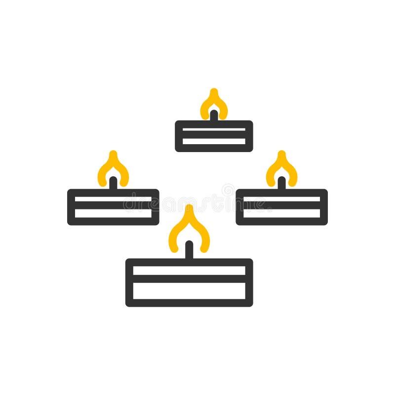 Piccole candele della cera che bruciano linea sottile icona di vettore Illustrazione per la religione, le cerimonie, gli eventi e illustrazione vettoriale