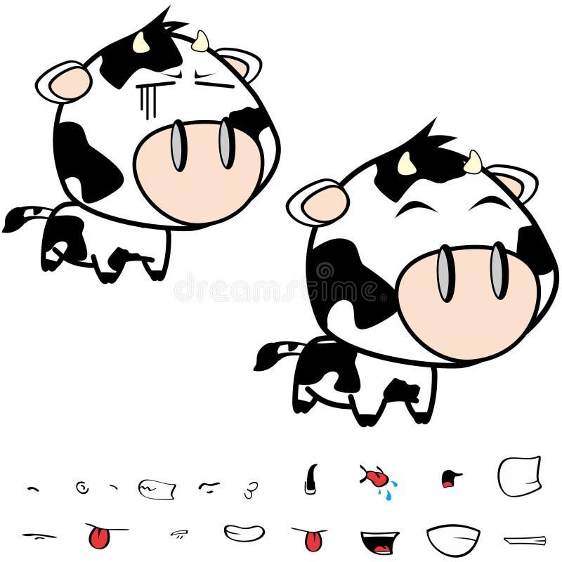 Piccole grandi espressioni cape felici della mucca fissate illustrazione di stock