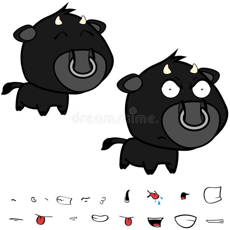 Piccole grandi espressioni nere cape arrabbiate del toro fissate illustrazione vettoriale