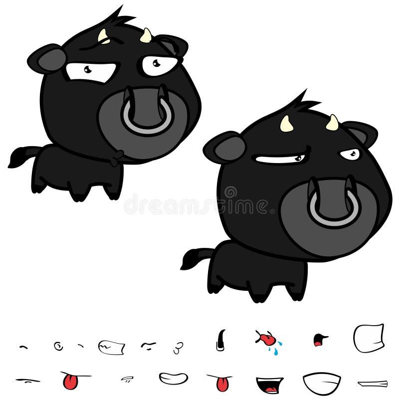 Piccole grandi espressioni nere cape civettuole del toro fissate illustrazione vettoriale