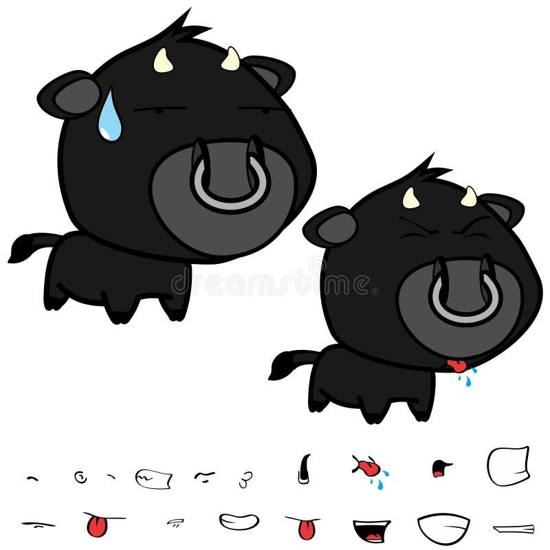 Piccole grandi espressioni nere cape dolci del toro fissate illustrazione vettoriale
