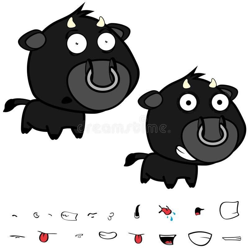 Piccole grandi espressioni nere cape felici del toro fissate royalty illustrazione gratis
