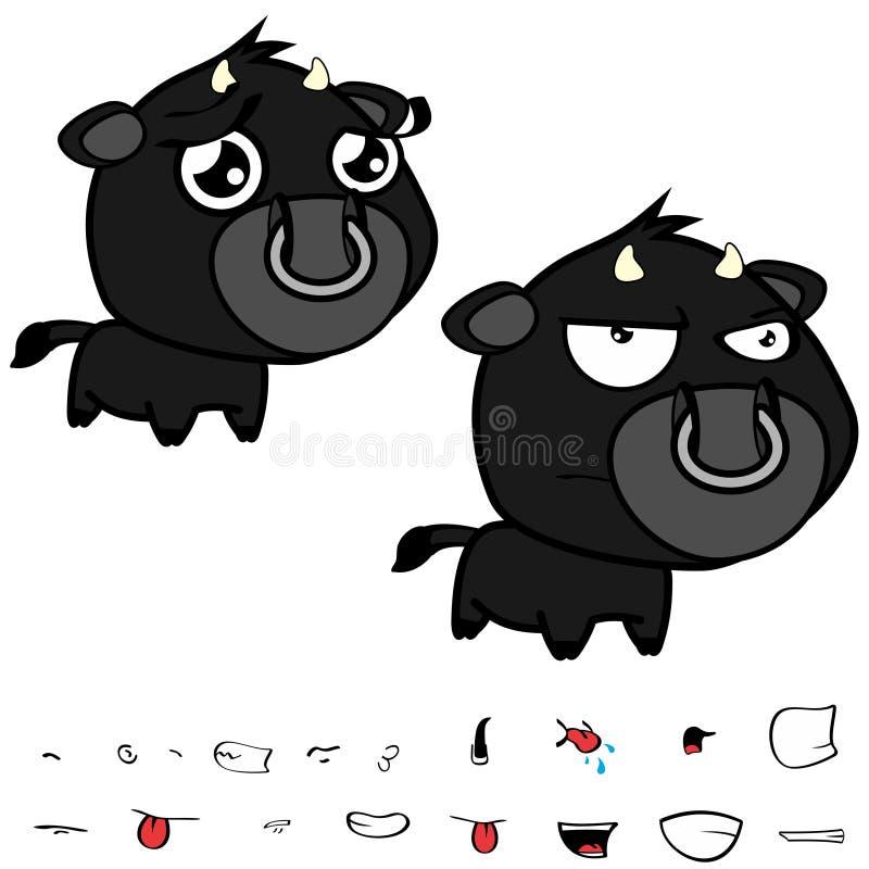 Piccole grandi espressioni nere cape sveglie del toro fissate illustrazione vettoriale