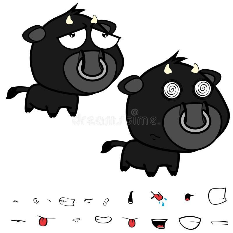 Piccole grandi espressioni nere cape tristi del toro fissate illustrazione vettoriale