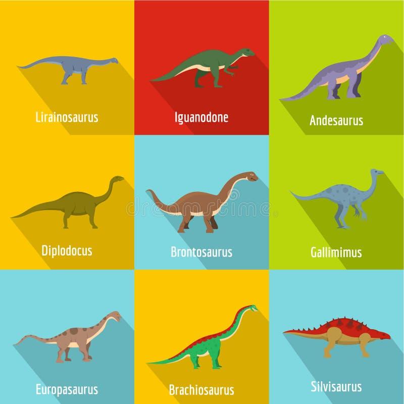 Piccole icone messe, stile piano del dinosauro illustrazione vettoriale