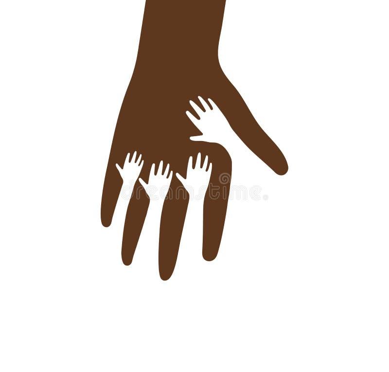 Piccole mani dentro la grande icona di vettore della palma Mano amica, sanità dei bambini, modello di logo di carità Siluetta mar illustrazione vettoriale