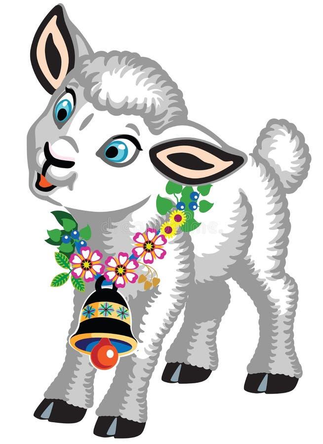 piccole pecore con una campana e fiori intorno al suo collo royalty illustrazione gratis