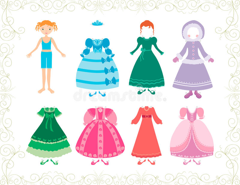 Piccole principessa e lei vestiti illustrazione di stock