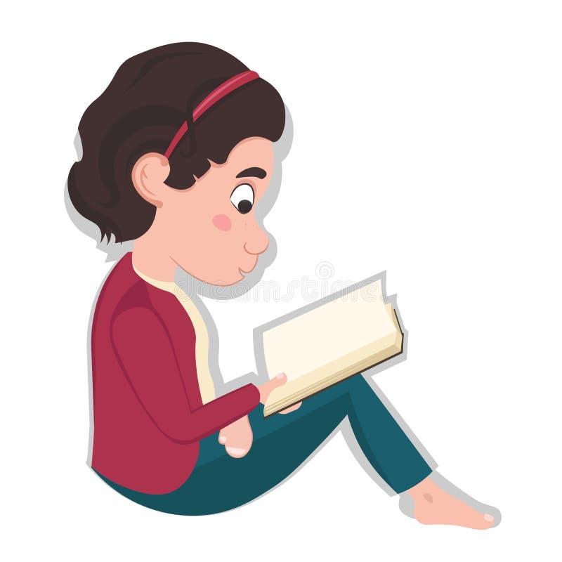 Piccole seduta e lettura caucasiche della ragazza un libro isolato su fondo bianco royalty illustrazione gratis