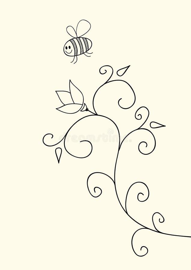 Piccoli ape e fiore divertenti illustrazione vettoriale