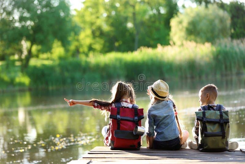 Piccoli bambini che si siedono sul pilastro di legno immagine stock