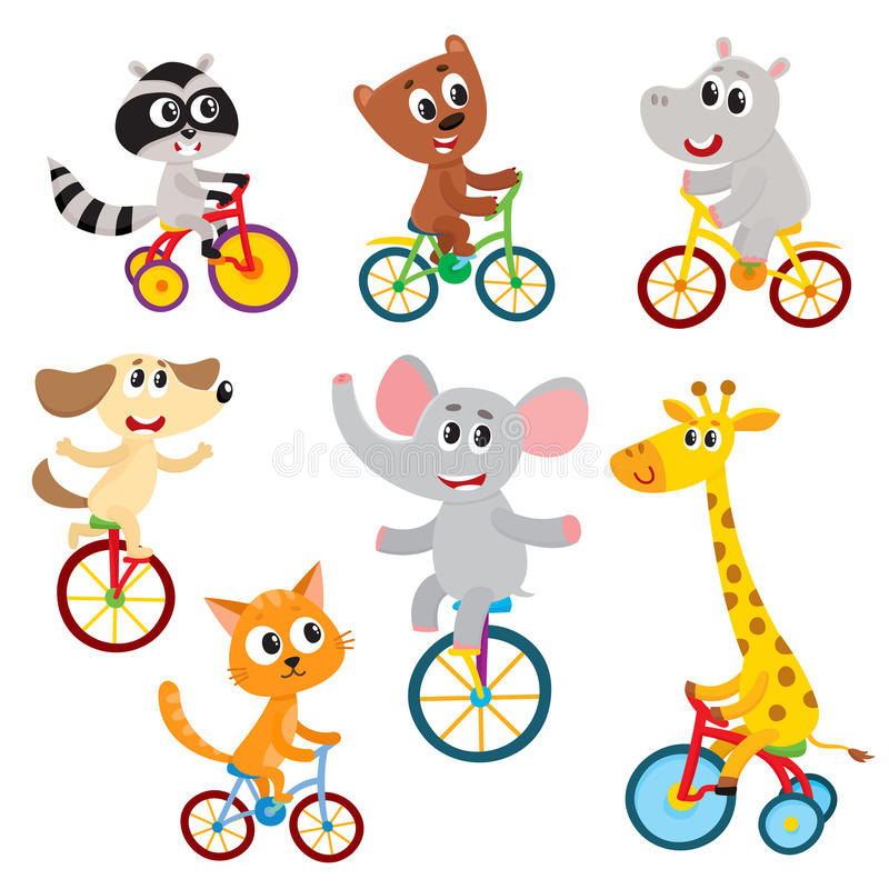 Piccoli caratteri animali svegli che guidano monociclo, bicicletta, triciclo, ciclante illustrazione di stock